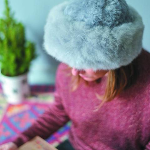 Baby Alpaca Fur Hat Grey - - Russian Style